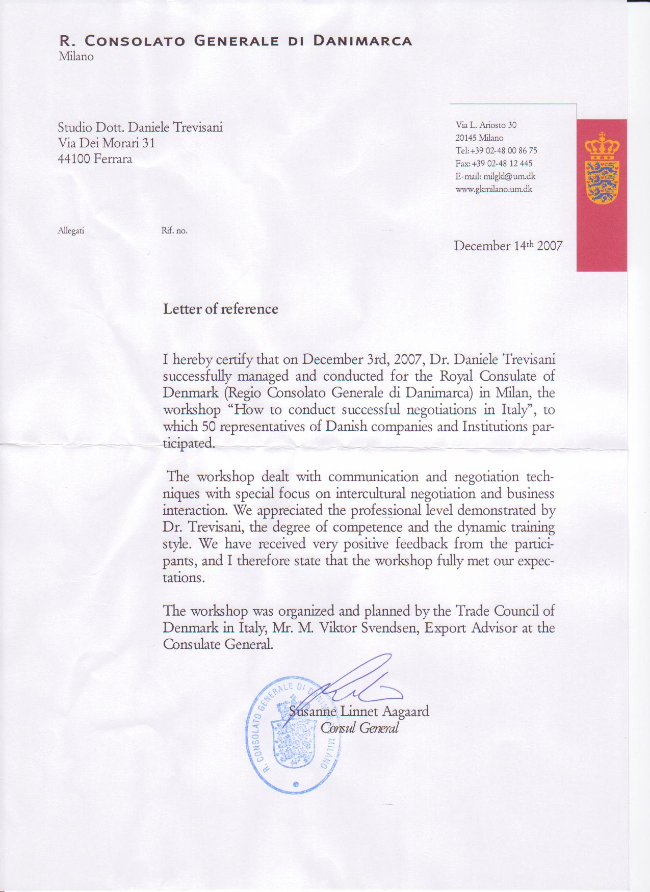 "Letter of Reference, Trade Council of Denmark, Workshop on ""How to conduct effective negotiations in Italy"""
